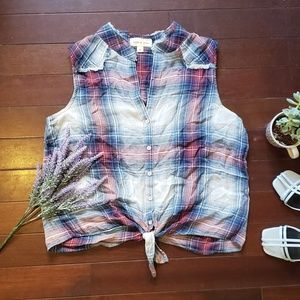 Plaid Crop Top with Tie Front